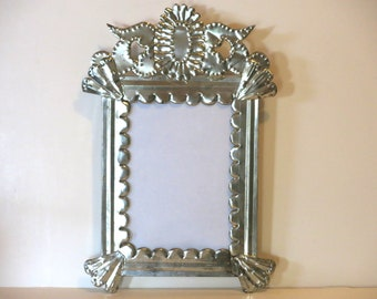Silver Toned Punched Tin Crown Top Picture Frame - Mexico - New Old Stock