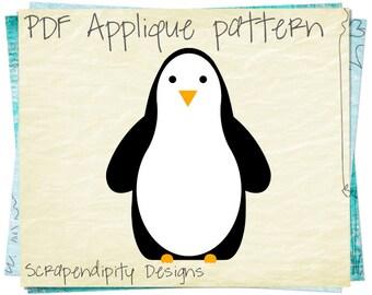 Penguin Applique Template   Zoo Applique Pattern / Penguin Fabric Applique  / Zoo Quilt Pattern /