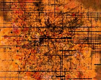 "Abstract Digital Art, Orange Art Abstract Flowers ""Monde #2"" Abstract Floral Art, Abstract Giclee Art Print Design, Contemporary Art"