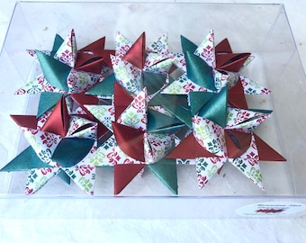 Moravian Paper Star Ornaments ~Red & Green Filigree (3 inch)