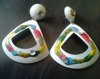 Large 1980s white triangular earrings with bright colours and faux diamantes