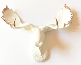 Faux Taxidermy Moose Head wall mount in WHITE with COPPER TIPS / Faux Taxidermy Animal head faux taxidermie nursery wall decor Resin Animal