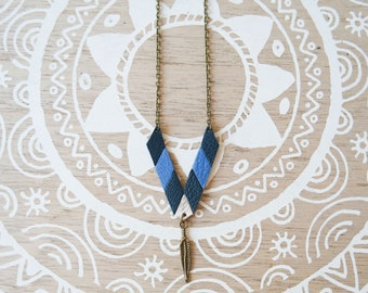 "Boho necklace is reversible ""Nayan"" leather and Cork"