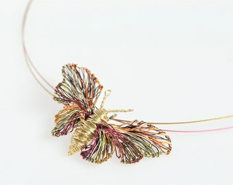 Butterfly necklace, delicate, gold necklace, wire wrapped pendant, nature, hippie, insect jewelry, Spring, bridesmaid, romantic gift for her