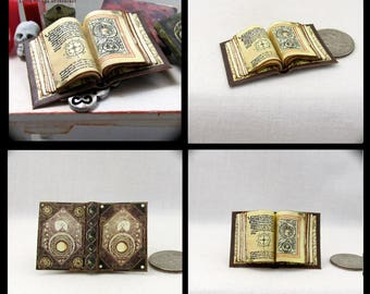 Open Book CODEX OF PARANOR Magic Book Miniature Dollhouse 1:12 Scale Color Illustrated Pages Wizard Witch Fortune Teller Gypsy Potter Magic