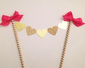Hot Pink and gold glitter heart cake topper, Bridal shower cake topper, Birthday and wedding cake bunting