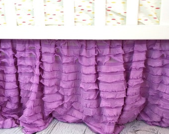 Purple Crib Skirt - Ruffle Crib Skirt - Lilac Dust Ruffle Crib Bed Skirt - Purple Crib Bedding Baby Bed Skirt- Lavender Crib Skirt- Bedskirt