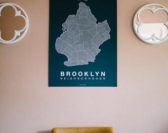 BROOKLYN Map. Screen Print Poster. Neighborhood Map. NYC Modern Home Decor Print. Brooklyn New York Art Poster. Multiple Colors.