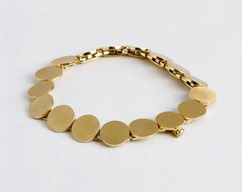 Large Gold Bracelet, Flexible Bracelet, Discs Bracelet, Gold Links Bracelet, Disk Jewelry 14k 18k Gold Bracelet Handmade