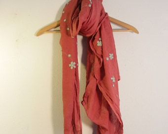 Large Cotton Scarf in Soft Pink Embroidery Flowers