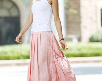 Pink skirt, linen skirt, womens skirts, maxi skirt, plus size skirt, fall skirt, pretty skirt, casual skirt, pockets skirt, patchwork (1023)