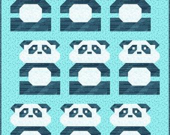 Panda Please Quilt Pattern, PDF Instant Download modern patchwork baby size bear animal blue green pink black white rainbow