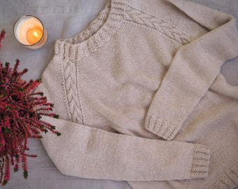 Alpaca Pullover / Alpaca sweater / Knitted sweater / Raglan sweater / Cable sweater / Winter sweater / Winter Jumper / Handmade sweater