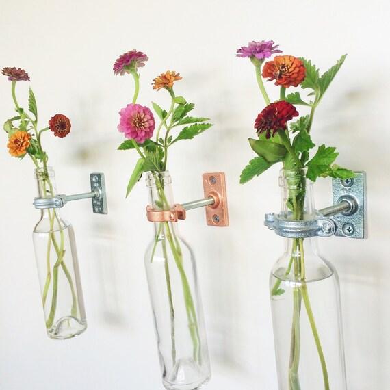 12 Wine Bottle Wall Flower Vases -  Wall Vase - Wall Decor - Christmas Decor - Wine bottle Decor