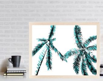 Palm Trees Print - Minimalist Palm Art - Tropical Decor - Printable Poster - Tropical Leaves
