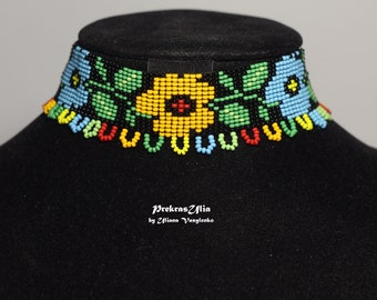 Flower Ethnic cervical gerdan Ukrainian jewelry choker necklace beaded multicolour Ukrainian gerdan Ukrainian gift for ukrainian ornament