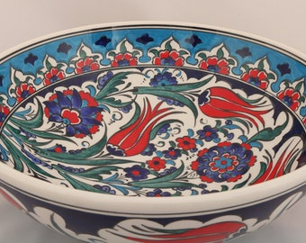"Handmade Handpainted Turkish Ottoman Fine Art Ceramic Bowl 10.2"" Diameter"