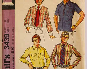 Vintage 1970s Mens Button-Down Shirt Sewing Pattern Chest 40 Neck 15.5 McCall's 3439