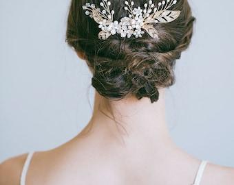 Gold Bridal Hair Comb, Gold Bridal Hair Pin, Gold Hair Comb, Gold Hair Pin, Gold Headpiece, Gold bridal hair accessories