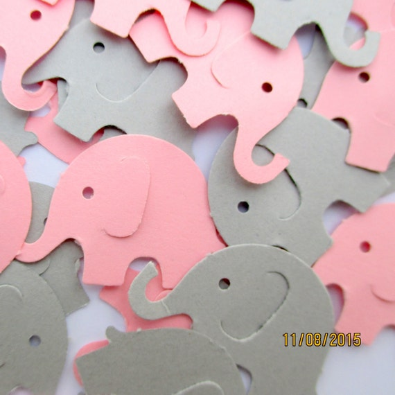 Best Seller Pink And Gray Elephant Confetti Baby Girl Shower