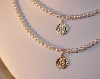 """Miraculous Medal and Swarovski Pearl Necklace, 18"""""""