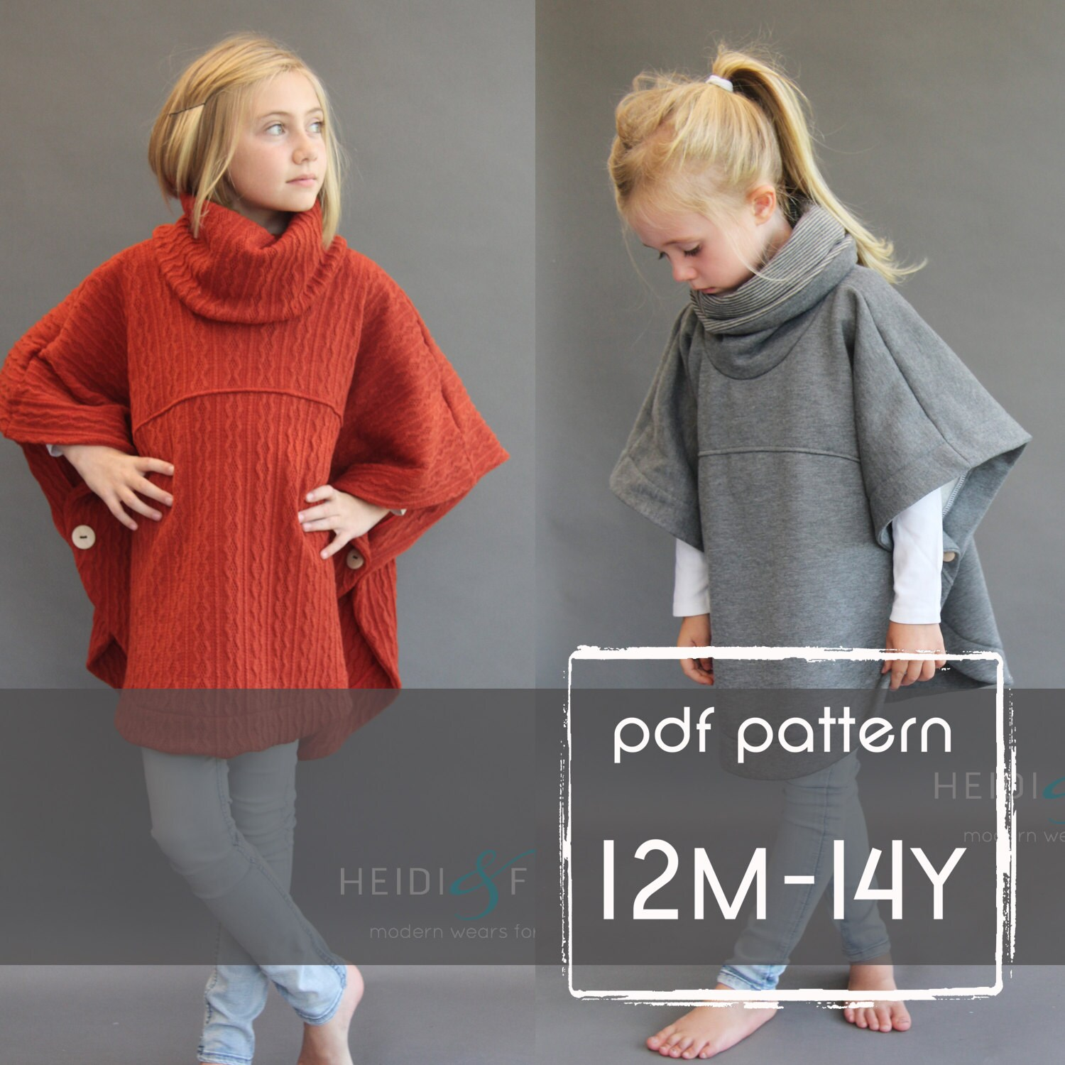 Veritas cape poncho pattern and tutorial 12m-14y holiday