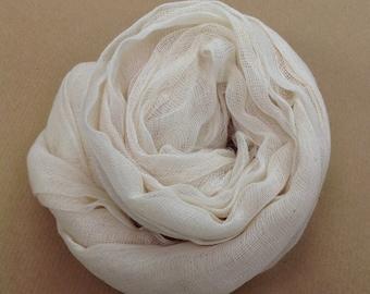 Cotton Scrim, Undyed Cotton Fabric, Gauze, Art Cloth, Scarf for Nuno Felting, Art and Mixed Media Projects, Ecru Scrim, 1 metre