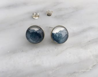 Payne's Gray Post Earrings - Sterling Silver Watercolor Earrings
