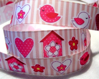 Ribbon grosgrain printed * 22 mm * heart Bird House flower stripe pink - sold by the yard