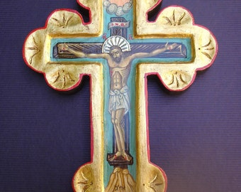byzantine icon. wood cross  with silver 925.orthodox icon.greek icon.handpainted.gift,baptism cross,byzantine cross