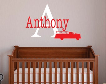 Firefighter Decor   Childrens Name Firefighter Wall Decal   Fireman Boys  Name Vinyl Wall Decal