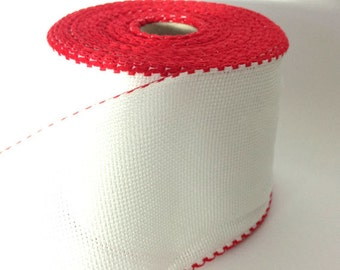 10 cm wide AIDA BAND 14 Count. White Cross stitch fabric with red border per 20 meter. Made in Europe. Cotton fabric.