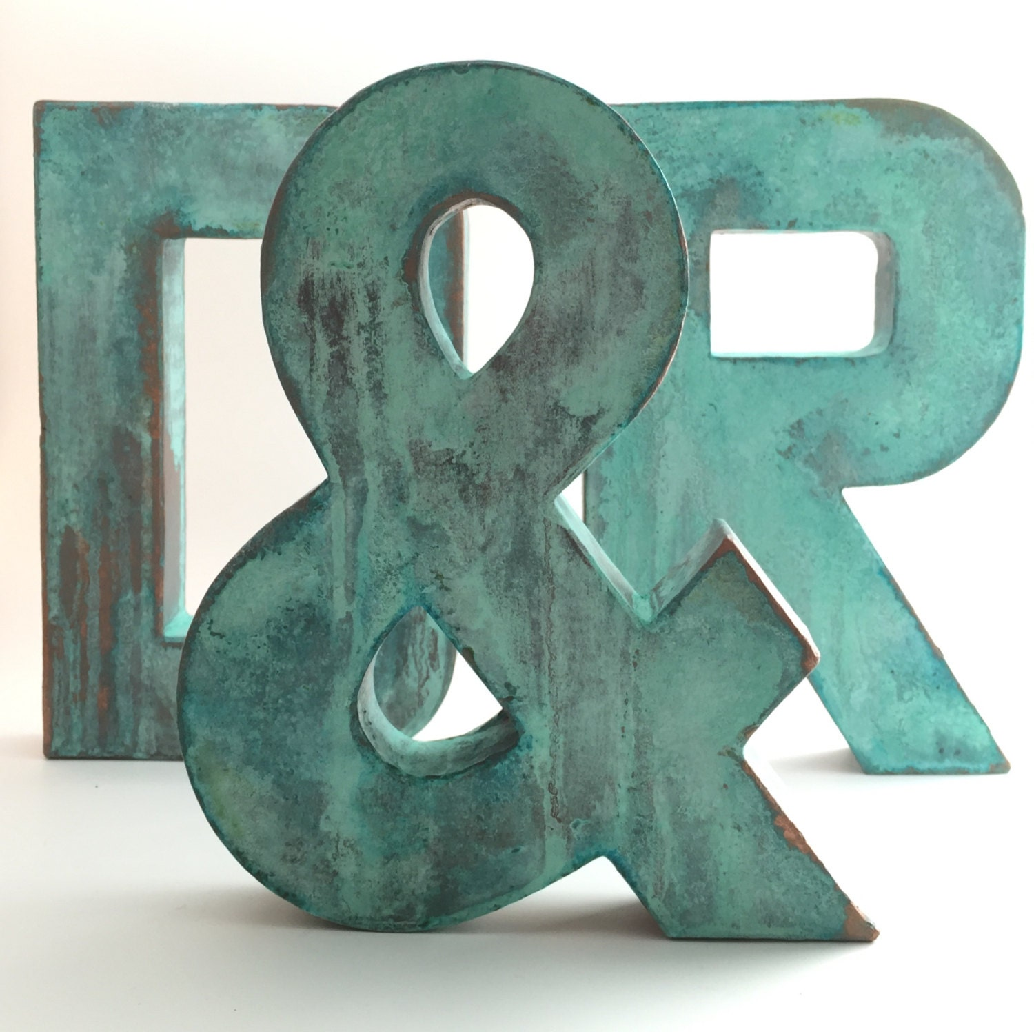 Decorative Metal Initials Faux Metal Letters Oxidized Copper Metal Farmhouse