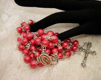Red Glass Pearled Rosary Beads