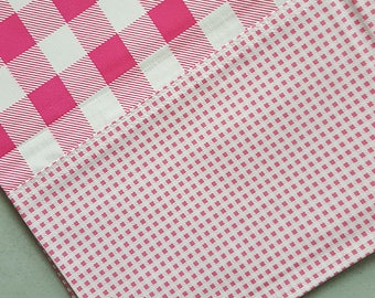 SALE 57x90 Rectangle Oilcloth Tablecloth Large Gingham Pink With Mini Gingham Pink Side Panels