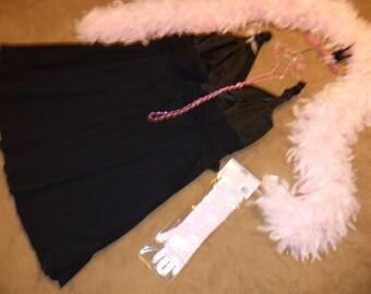 Flapper 20s black dress black fringe boa Halloween COSTUME womens sz 26