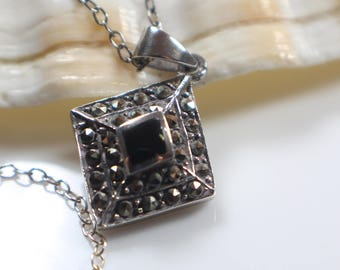 Silver Marcasite and Black Enamel Pendant on 925 Silver Chain Necklace
