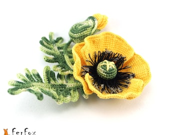 Yellow poppy brooch Yellow flower pin Rustic wedding jewelry Poppy corsage Floral brooch Mother's day gift Summer jewelry Spring accessory