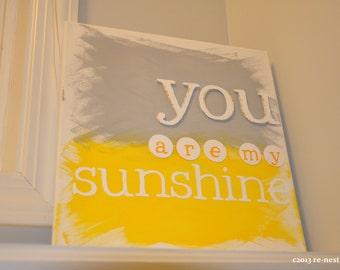mini you are my sunshine customized canvas - sunshine nursery/gender neutral nursery/classic baby/child artwork/playroom/keepsake artwork
