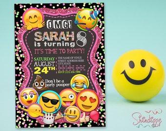 Emoji Birthday Invitation Card - Emoji Icons, OMG Invitation, Emoji Invite, Emoji Birthday, Emoji Party, Emoji Printable, Emoji Card