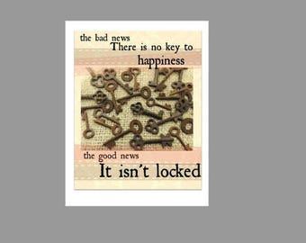 Digital Sign Printable - Key to Happiness