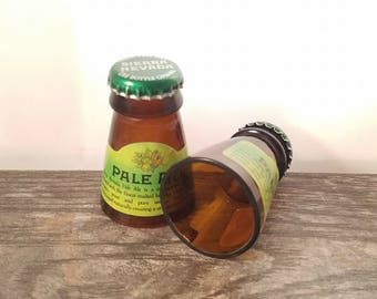 Sierra Nevada Pale Ale shot glasses made from the necks of beer bottles! Hand cut and polished Set of 2!