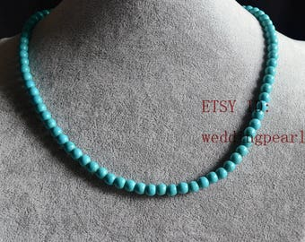 6mm single strand turquoise necklace,man-made turquoise bead necklace,kides necklace,children necklace,flower girl necklace,wedding necklace