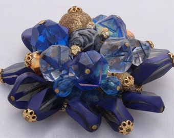 Vintage 1970's Dark Blue Purple Gold Art Glass Gold Metal Brooch Made in West Germany