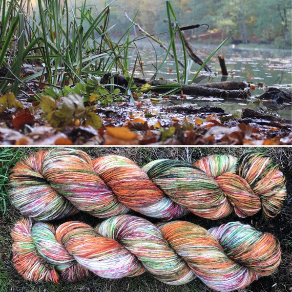 Autumn Morning BFL, indie dyed bluefaced leicester nylon sock yarn