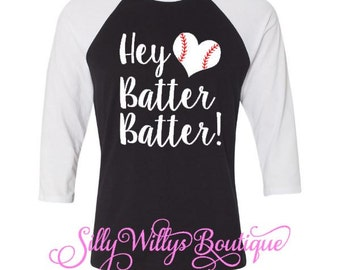 Hey batter batter shirt, baseball shirt, baseball mom shirt, softball mom shirt, Baseball Raglan, Baseball