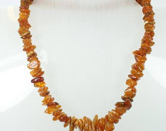Boho Style Baltic HoneyAmber (琥珀色)Freeform Beaded Necklace
