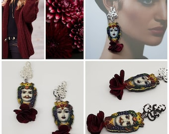 Earrings Sicilian, Burgundy, puppets, puppets, flower, silk, pendants, mother's Day, mother, party