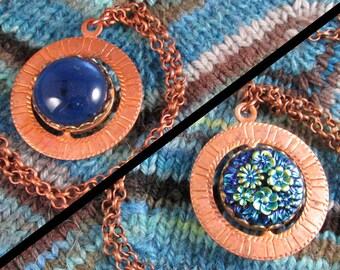 Spinner Pendant Necklace - Copper and Blue Flowers - Stim Jewelry