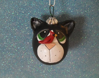Tuxedo Cat Gourd Ornament